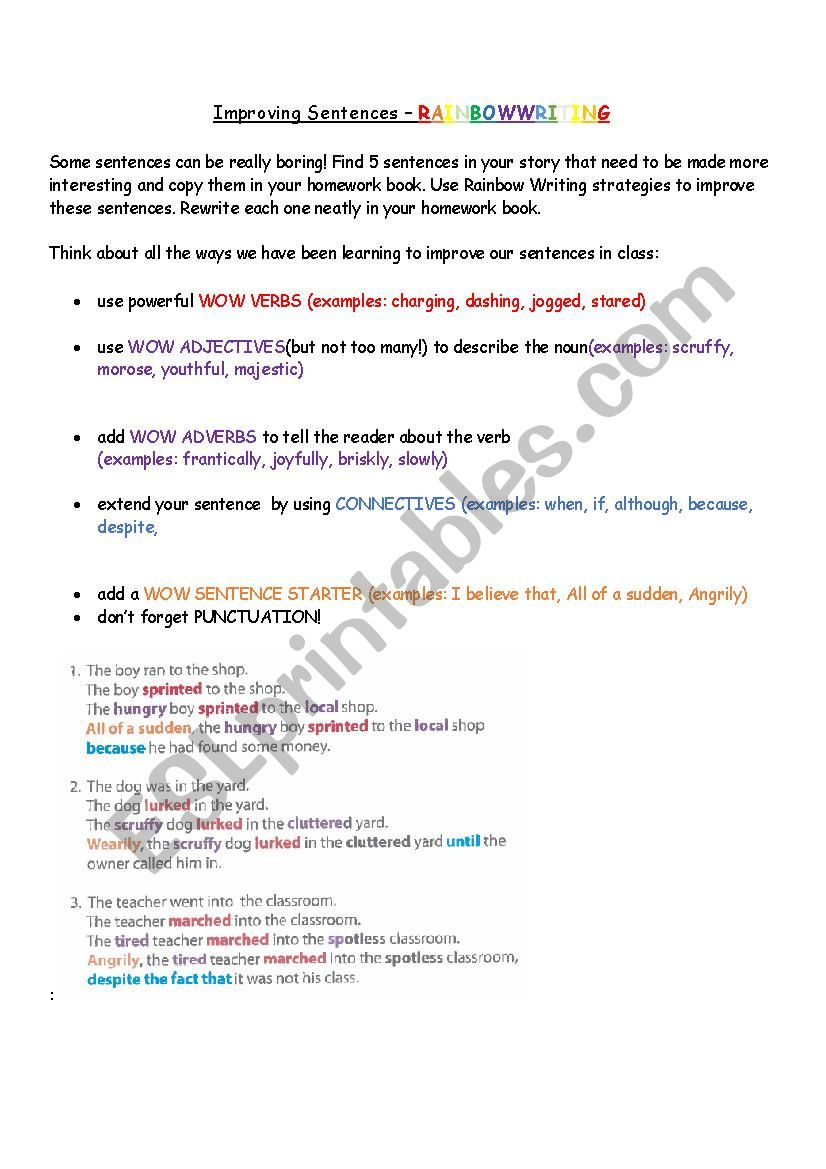 Improving Sentences-Rainbow Writing - ESL worksheet by ...