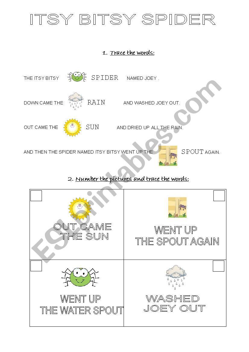 The Itsy Bitsy Spider worksheet