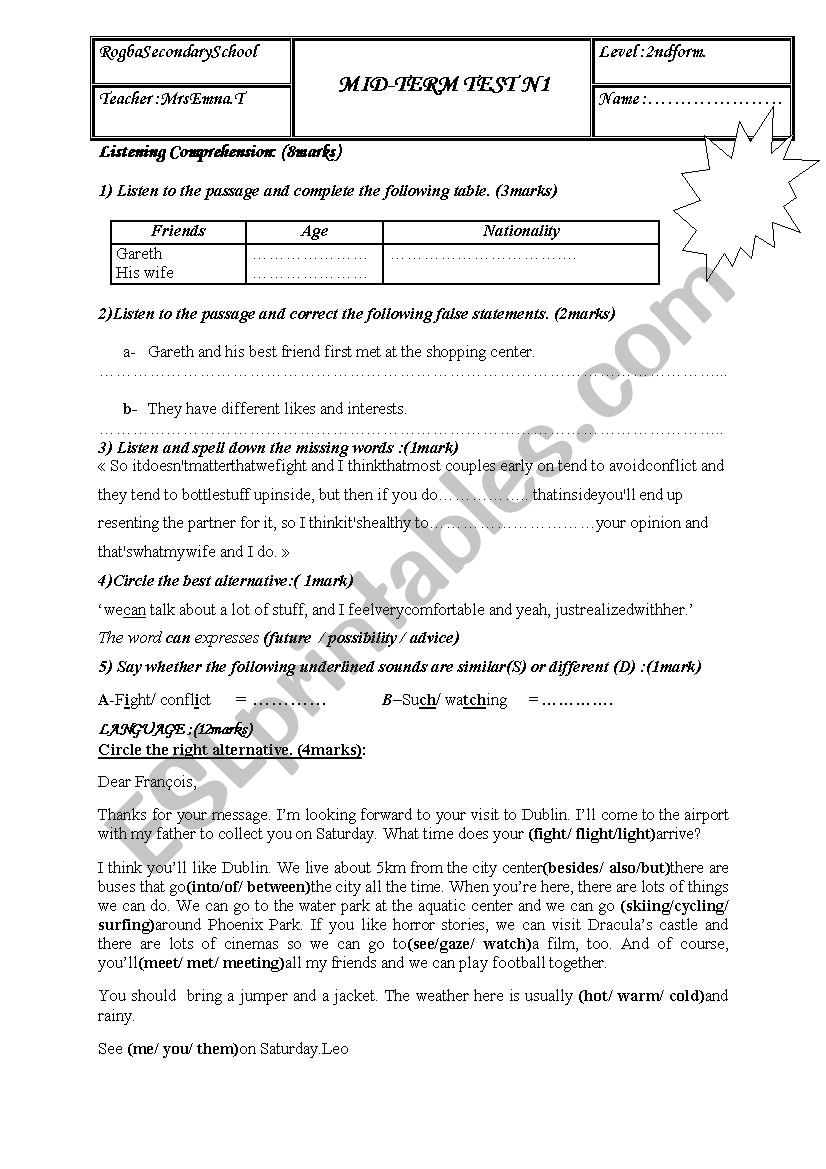 mid -term test n1 for second form (tunisian students)