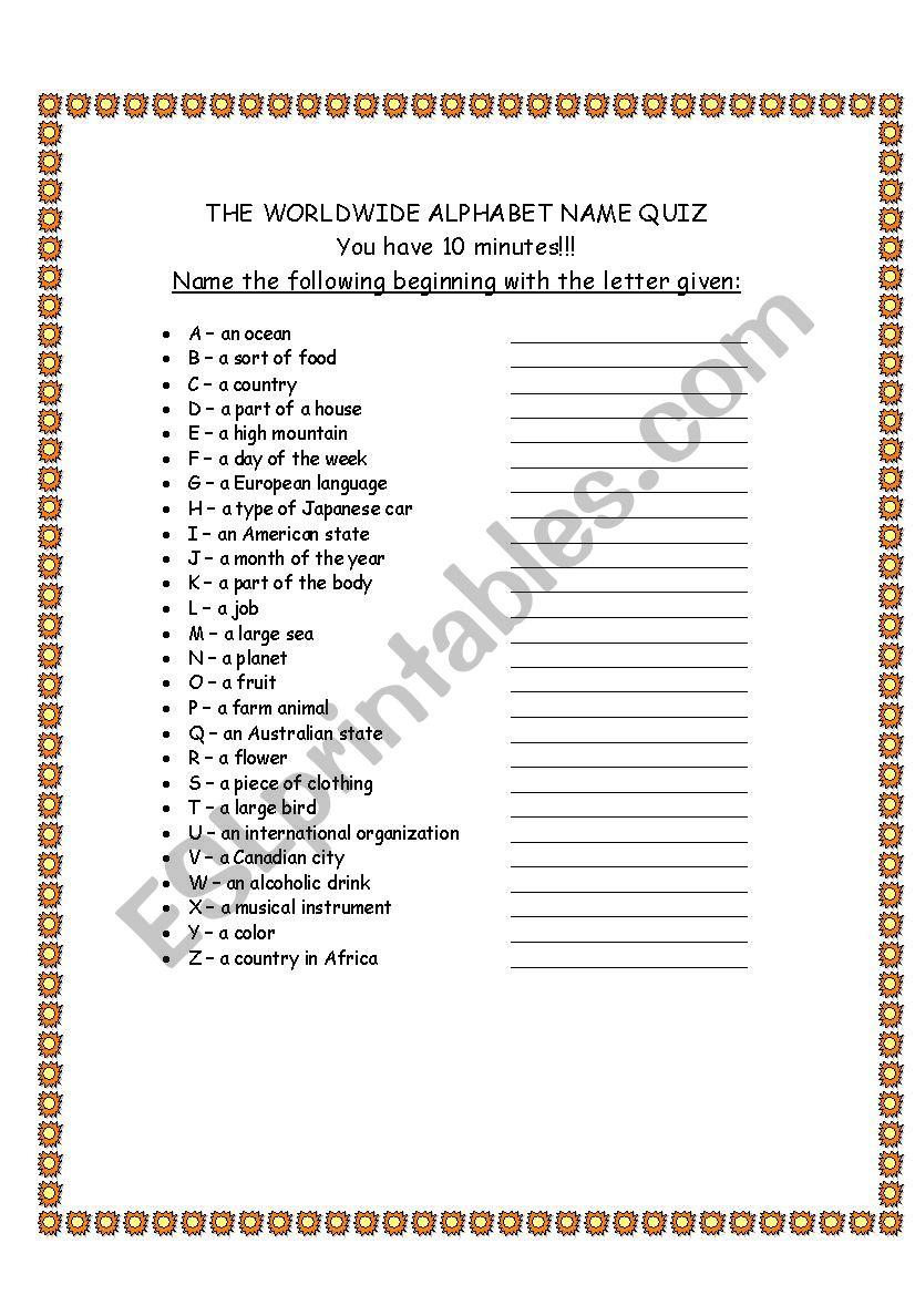Alphabet Quiz worksheet
