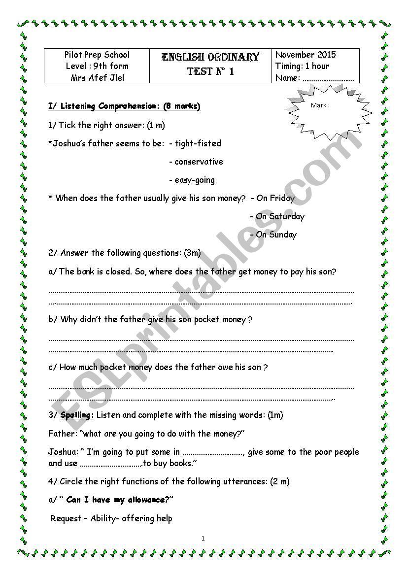 Mid term test N°1 worksheet
