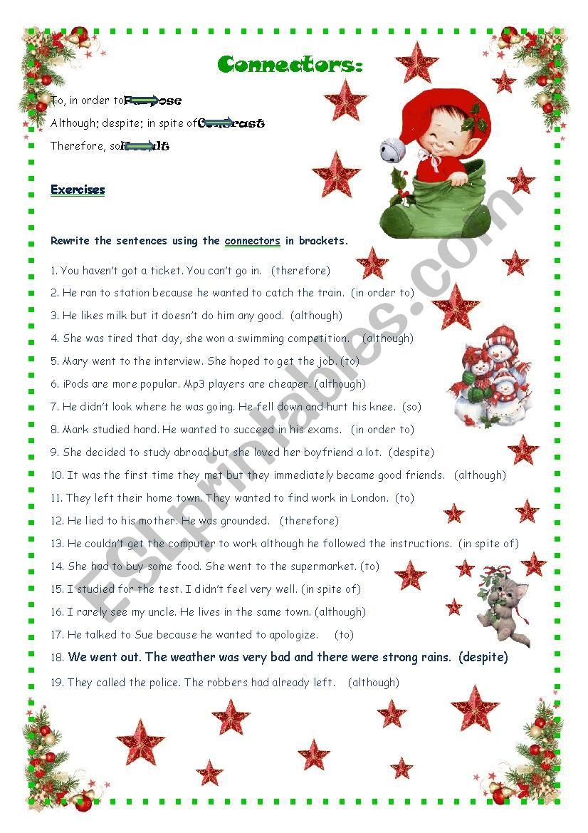 Sentence Connectors Esl Worksheet By Ameliajesus
