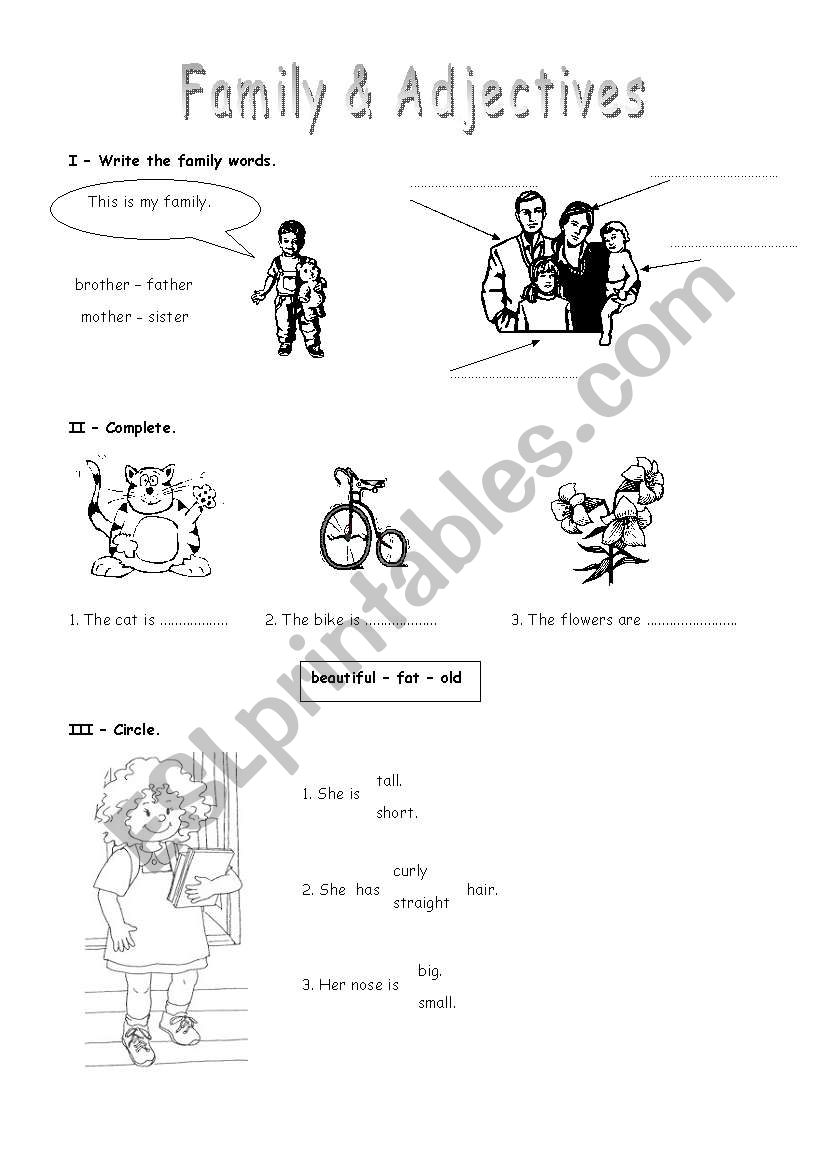 Family & Adjectives worksheet