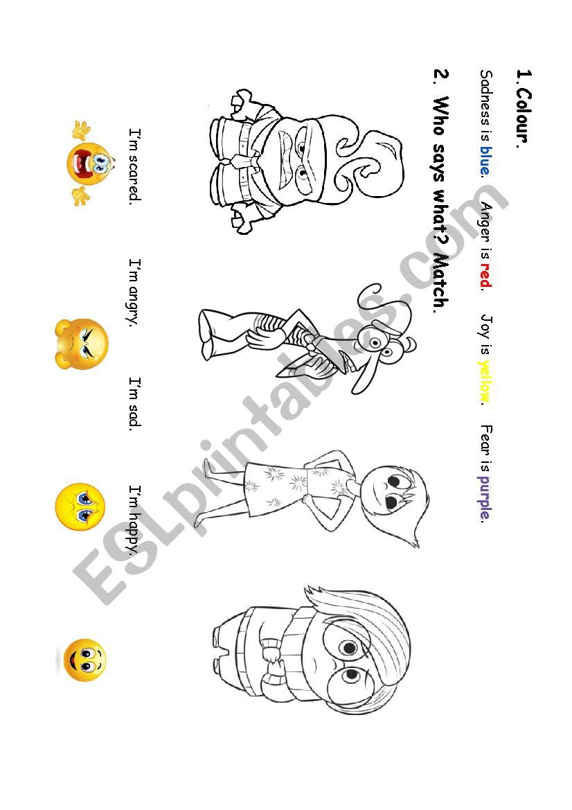 Inside out  Colours and emotions  - ESL worksheet by sesanna