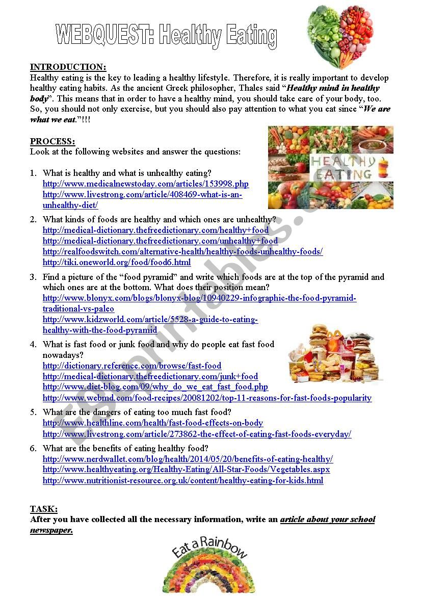 Webquest: Healthy Eating worksheet