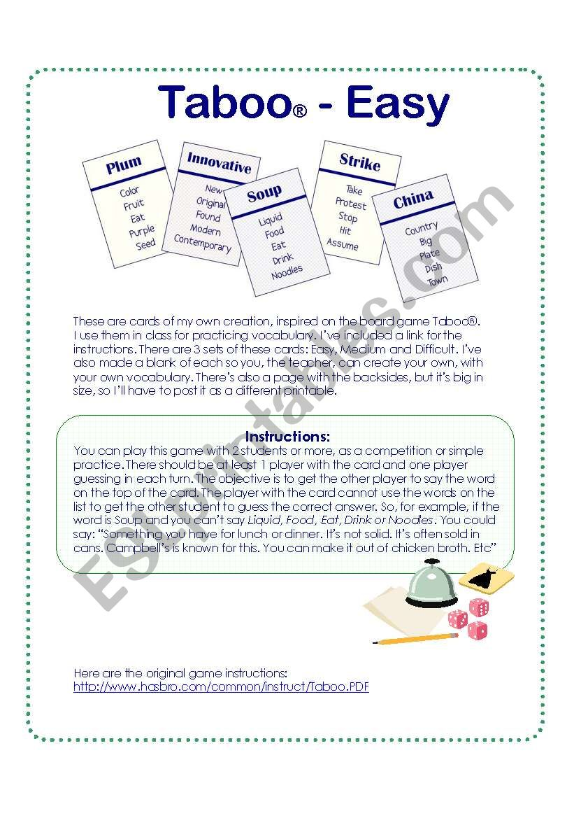 Game cards inspired on the Taboo® Board Game - Easy