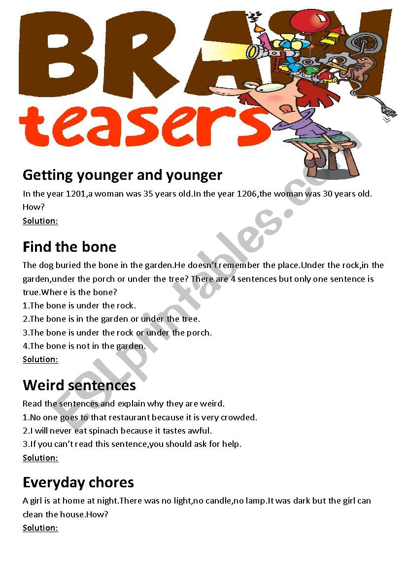 Brain Teasers(with answer key)