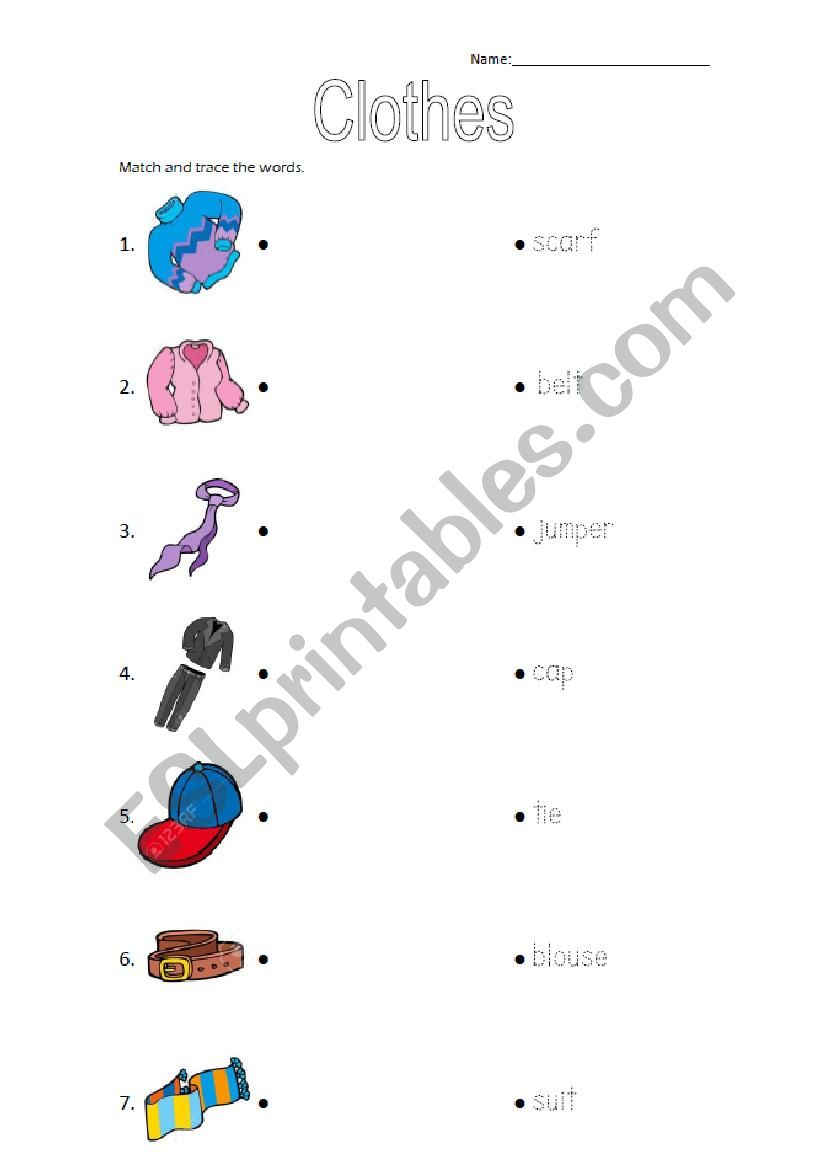 Clothes matching worksheet