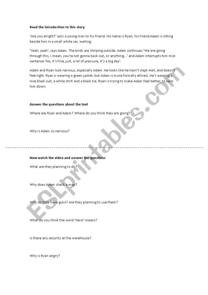 The Heist worksheet