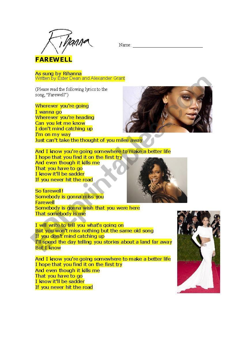 English worksheets: Rihanna - Farewell 1