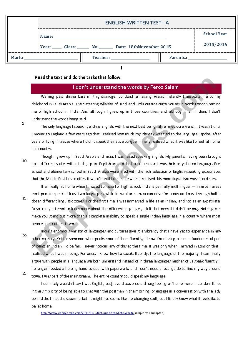 Test 10th grade - importance of English