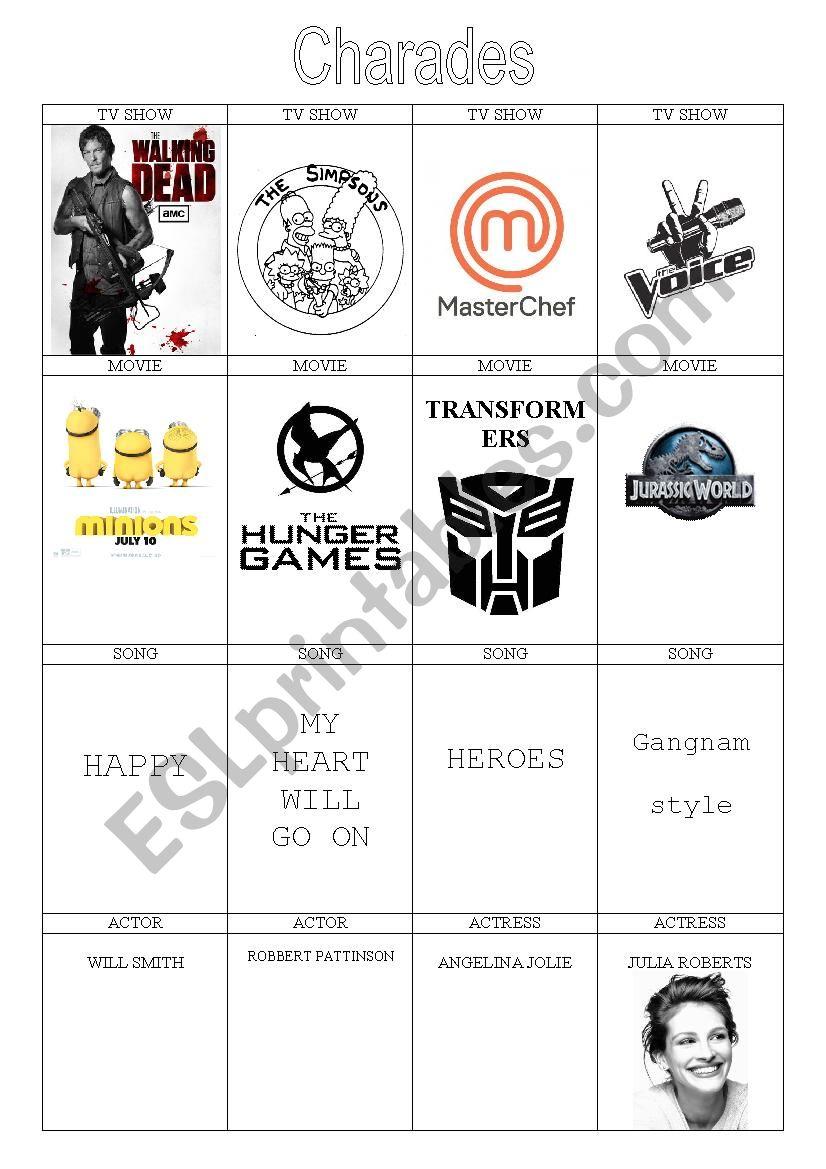Charades card game worksheet