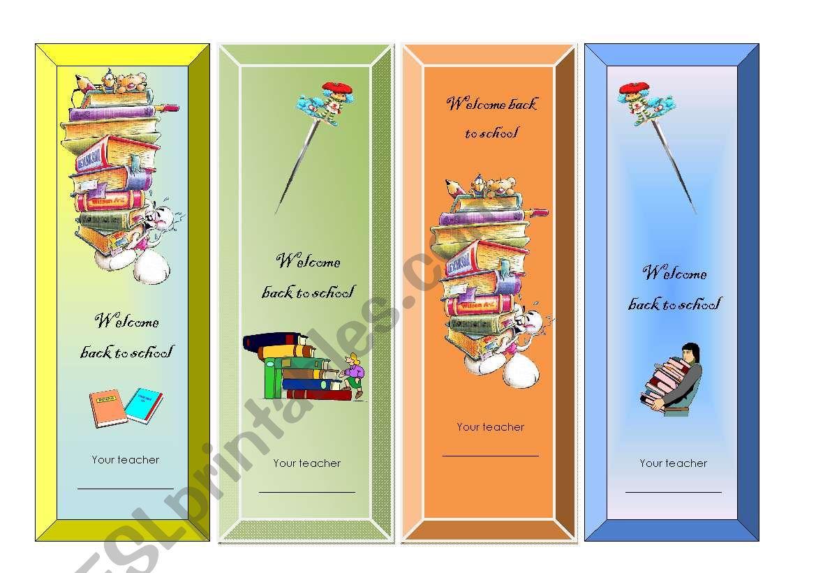 Bookmarks worksheet
