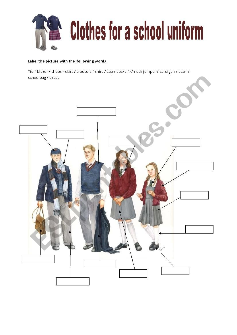 Clothes for a school uniform worksheet