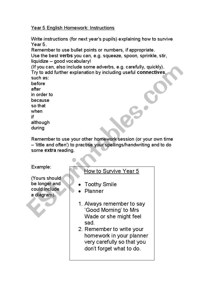 - Information Homework Year 5 - ESL Worksheet By MaggieQueens