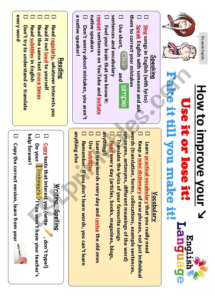 How to improve your English - a practical guide (2 pages)