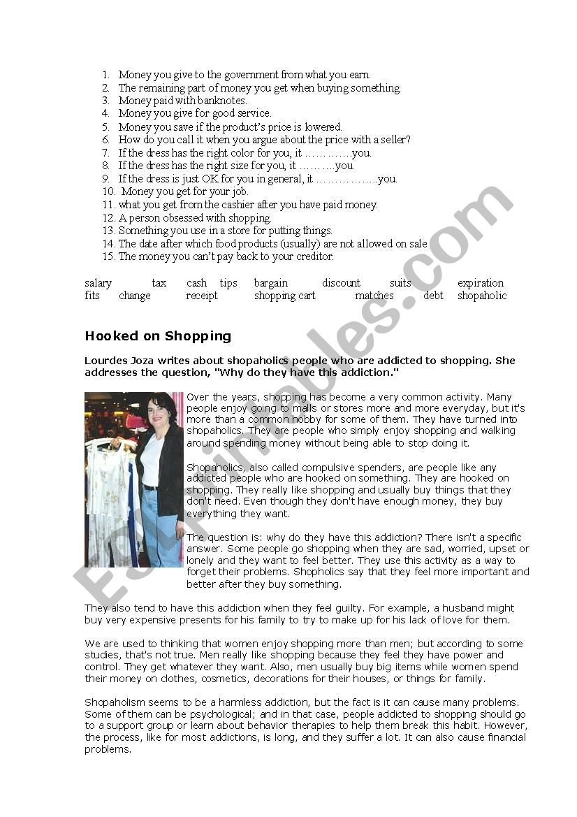 Shopping - shopaholics worksheet
