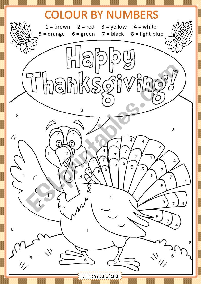 Thanksgiving: colour by numbers