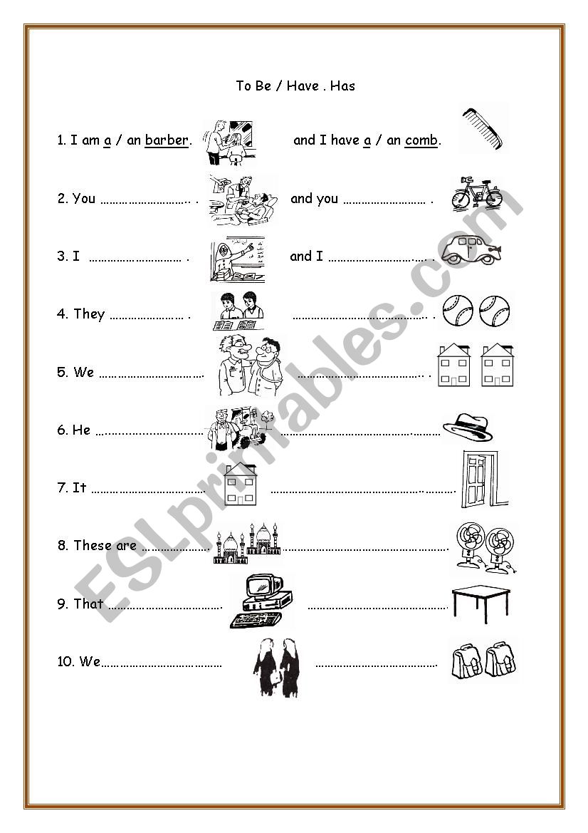 To Be and Have / Has worksheet