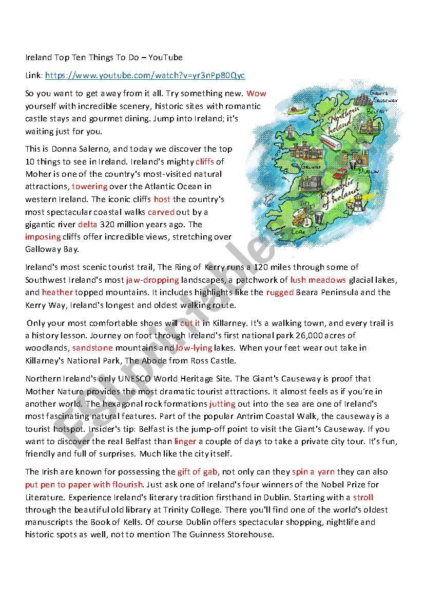 Ireland:Ten Top Things To Do worksheet