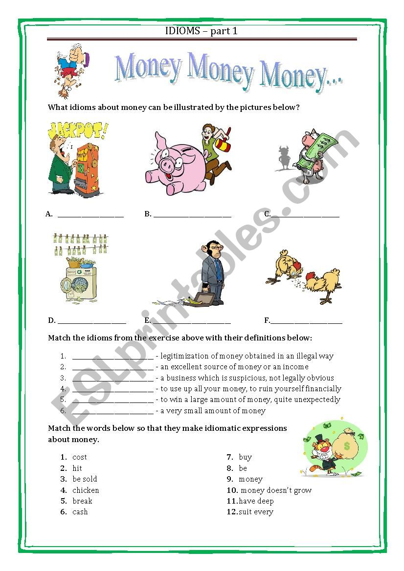 IDIOMS 1 - MONEY with a key worksheet