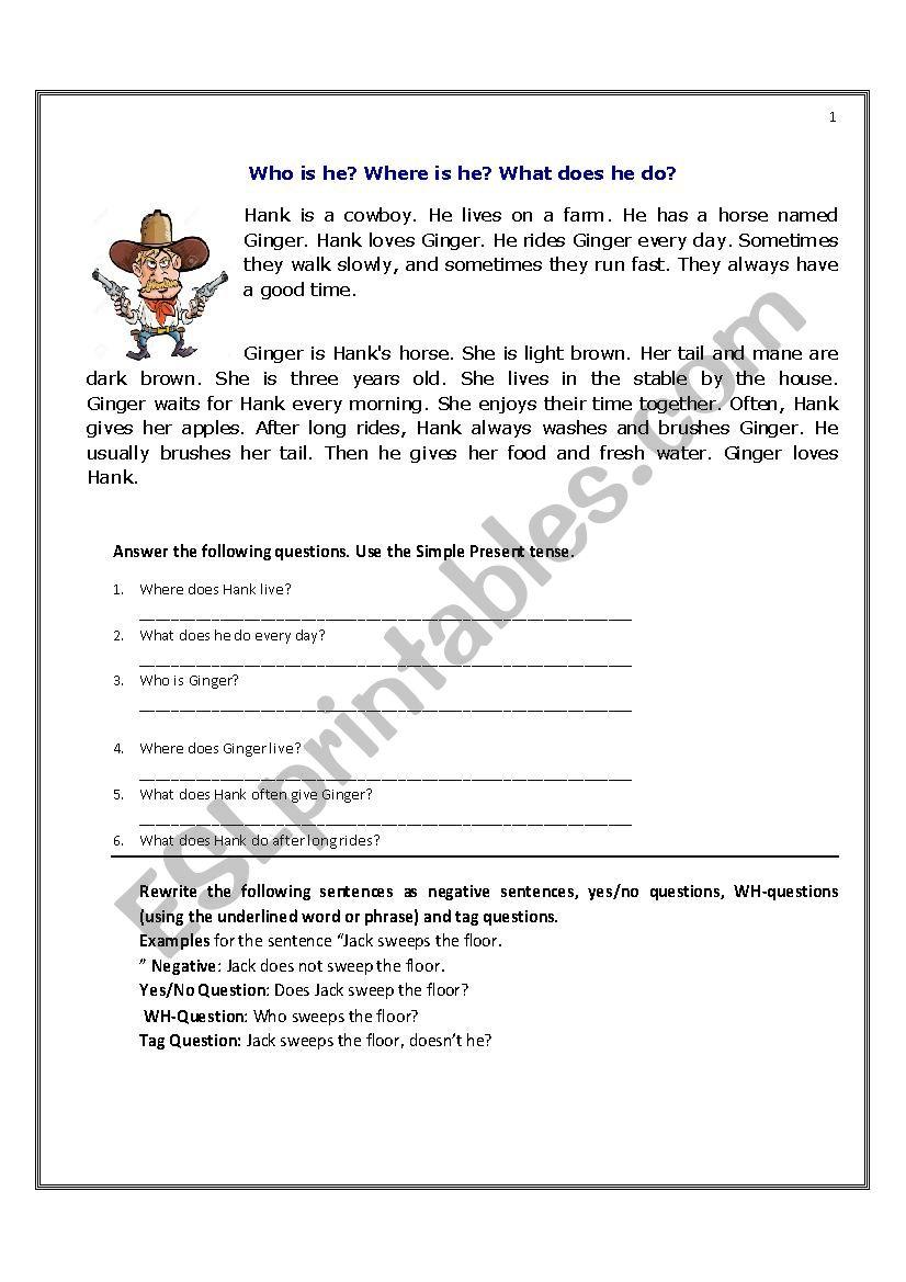 - Present Simple Stories For Reading Comprehension - ESL Worksheet