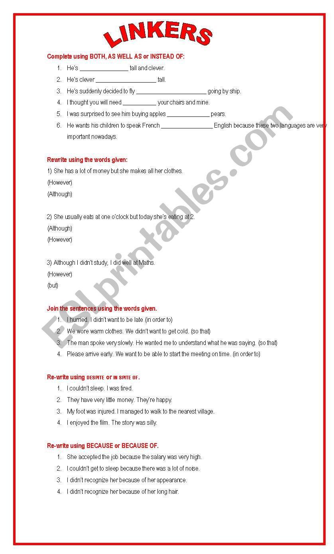 LINKERS - CONNECTORS worksheet