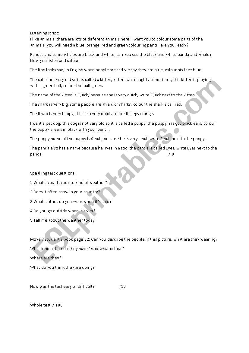 Cambridge Movers Term 1 test units 1 to 8 - ESL worksheet by mazzles