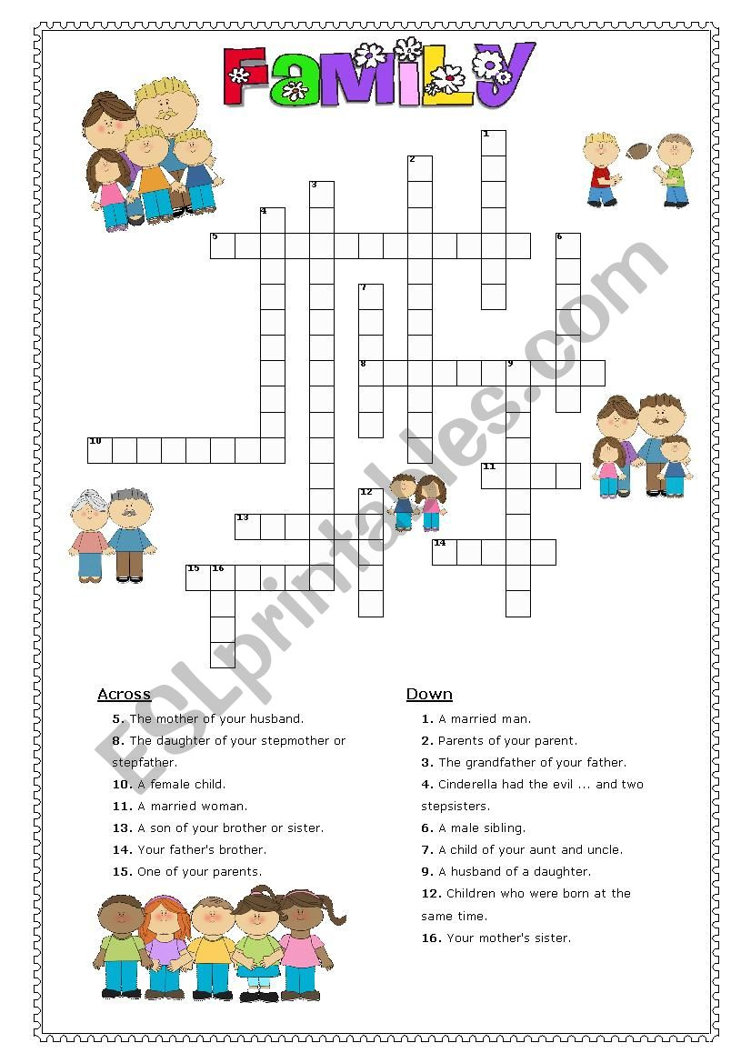 Family crossword worksheet