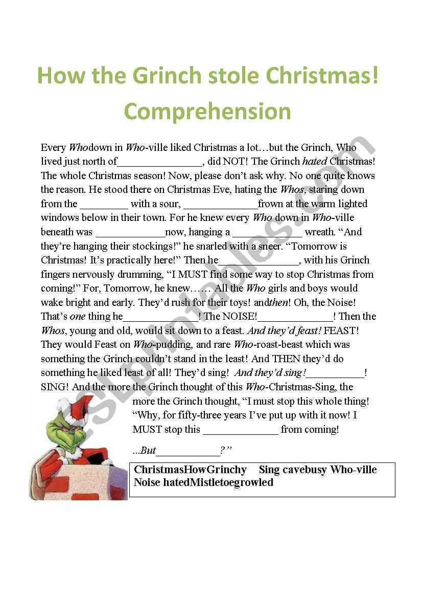 The grinch comprehension fill in the missing word esl worksheet grinch stole christmas crossword jpg 826x1169