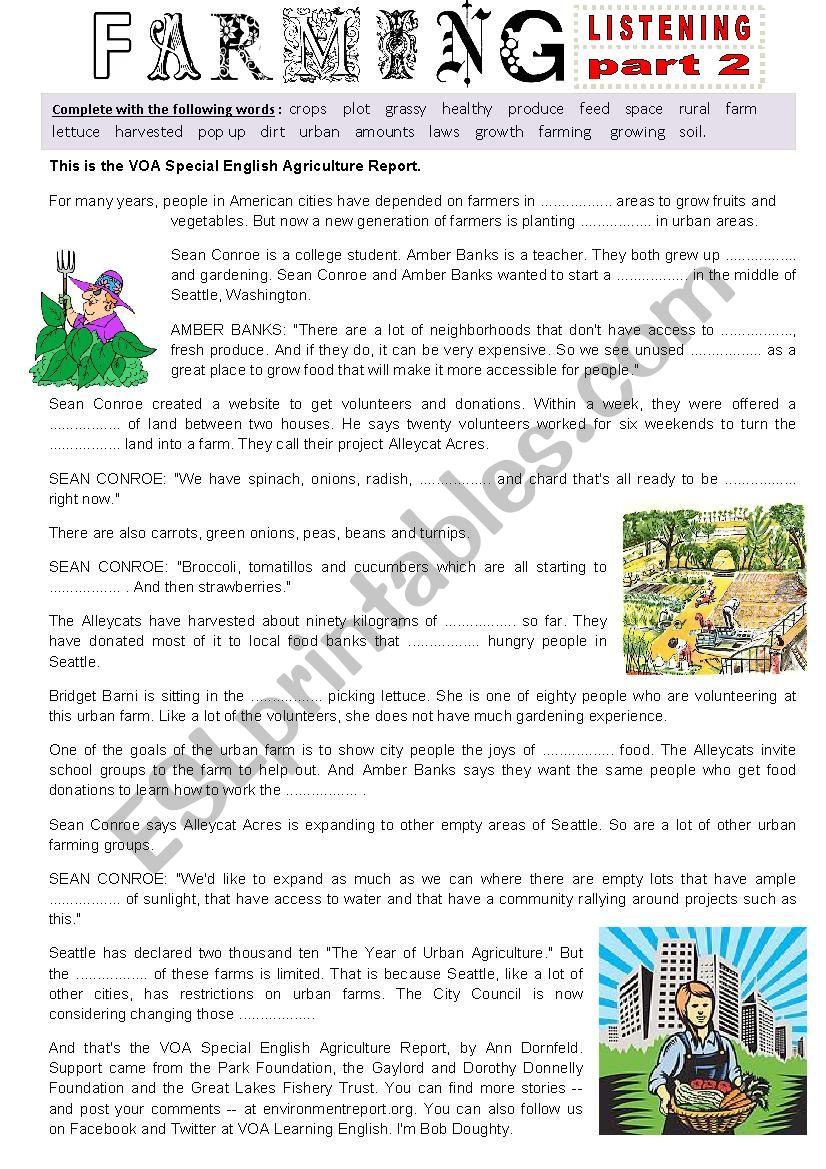 Listening - URBAN FARMING part 2 - Fill in the gap Ex + Link + script.