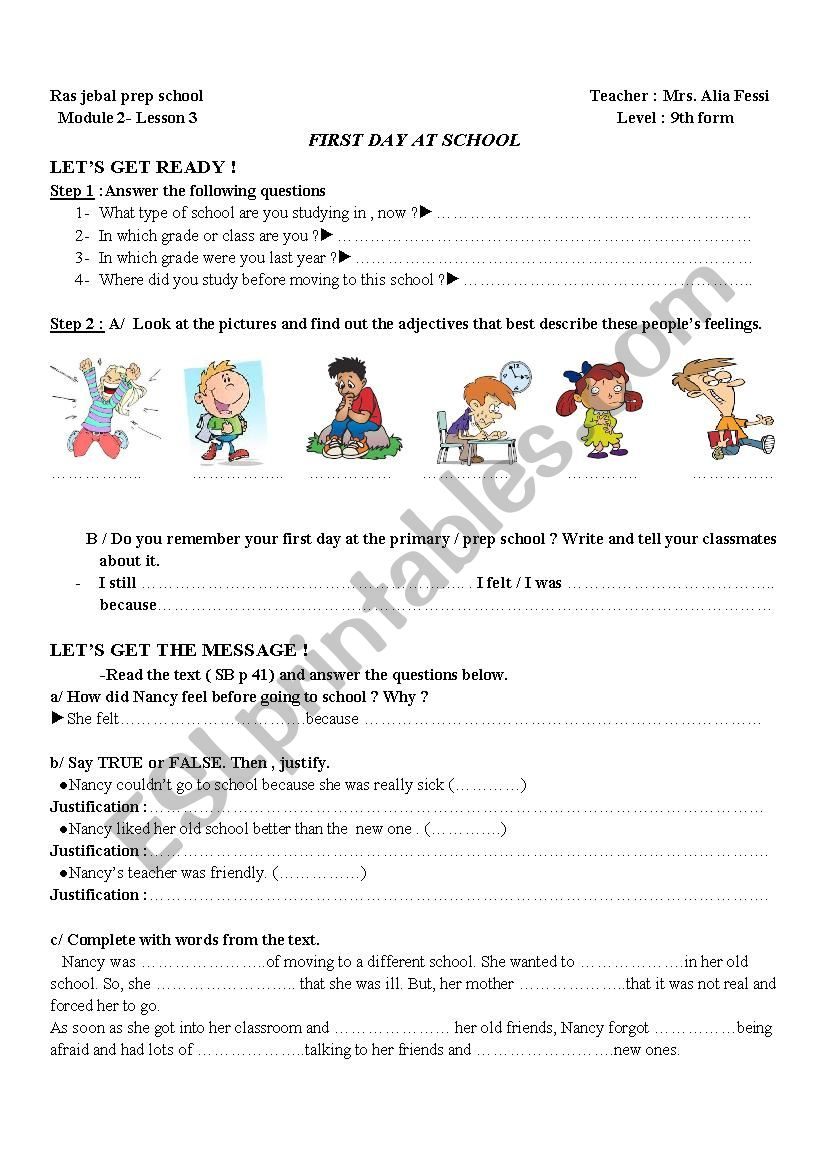FIRST DAY AT SCHOOL - ESL worksheet by alia souai