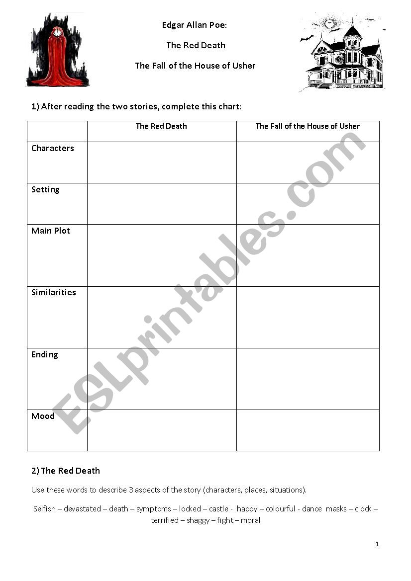 Poe: Red Death/Fall of the House of Usher worksheet - ESL ...