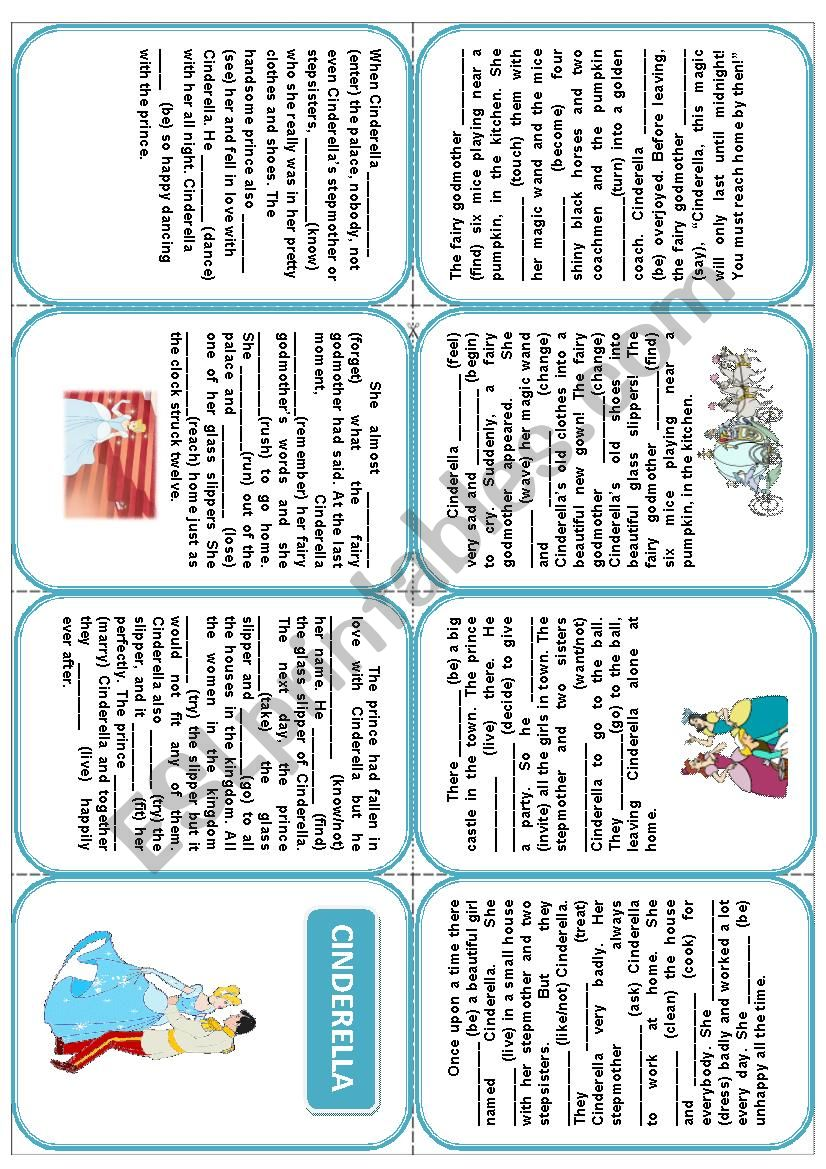 Cinderella. Mini-book worksheet