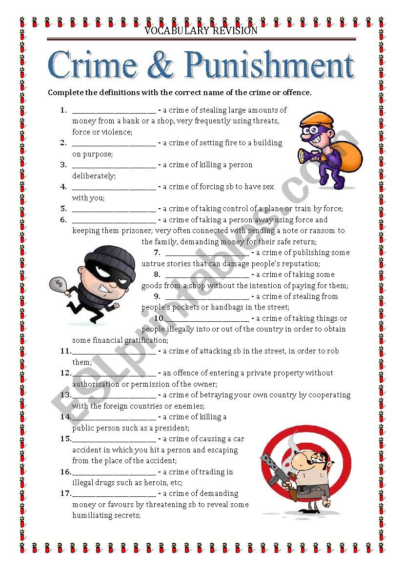 Vocabulary Revision 7 -crime and punishment