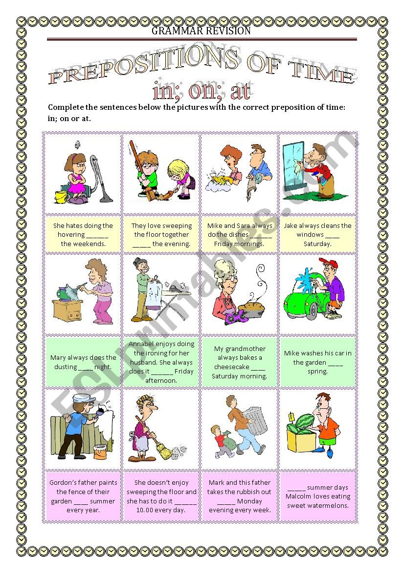 GRAMMAR REVISION 4 - PREPOSITIONS OF TIME in on at