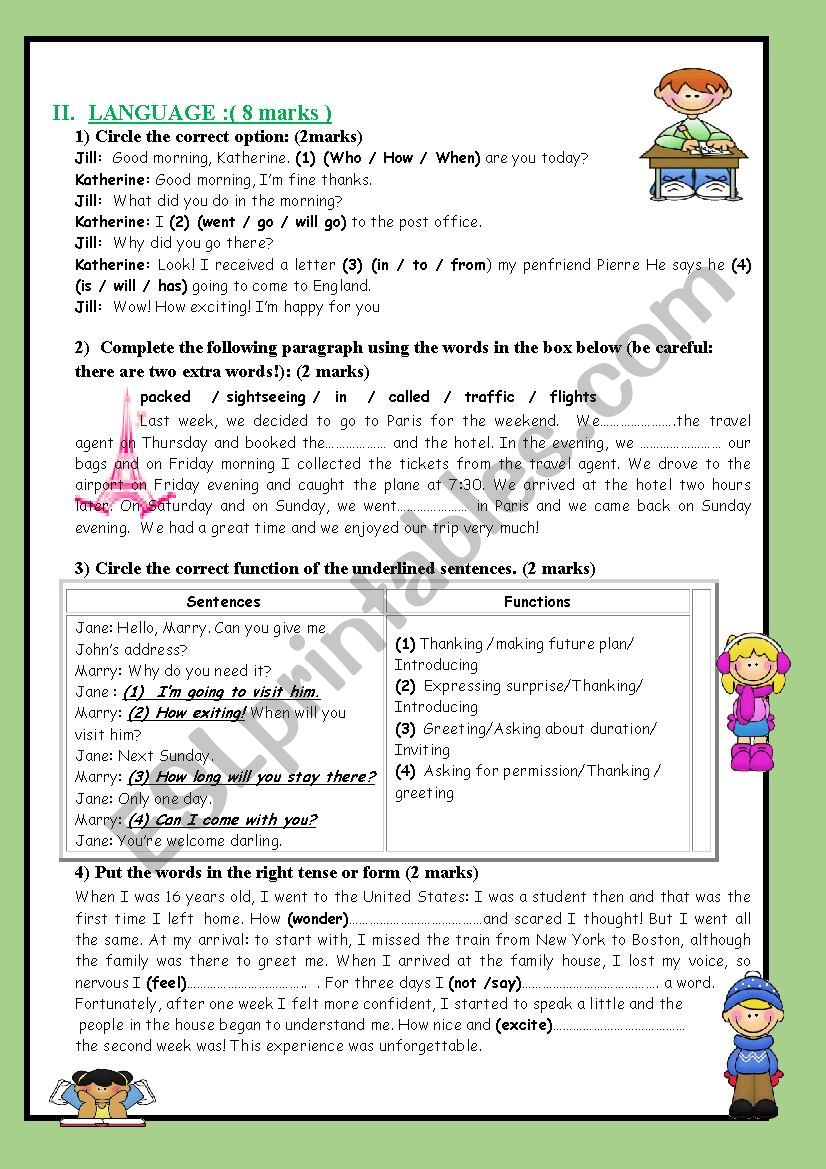 full term test 1 8th form part 2 Language