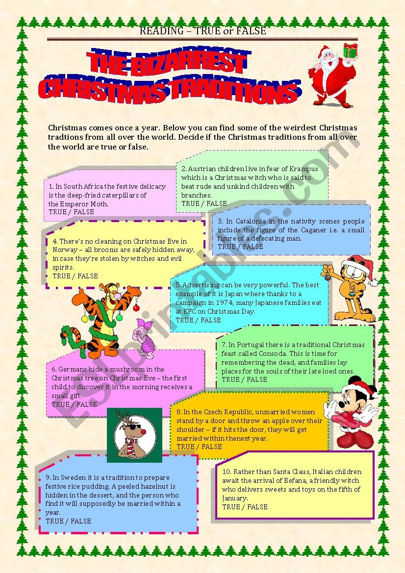 READING - true or false - CHRISTMAS TRADITIONS with key
