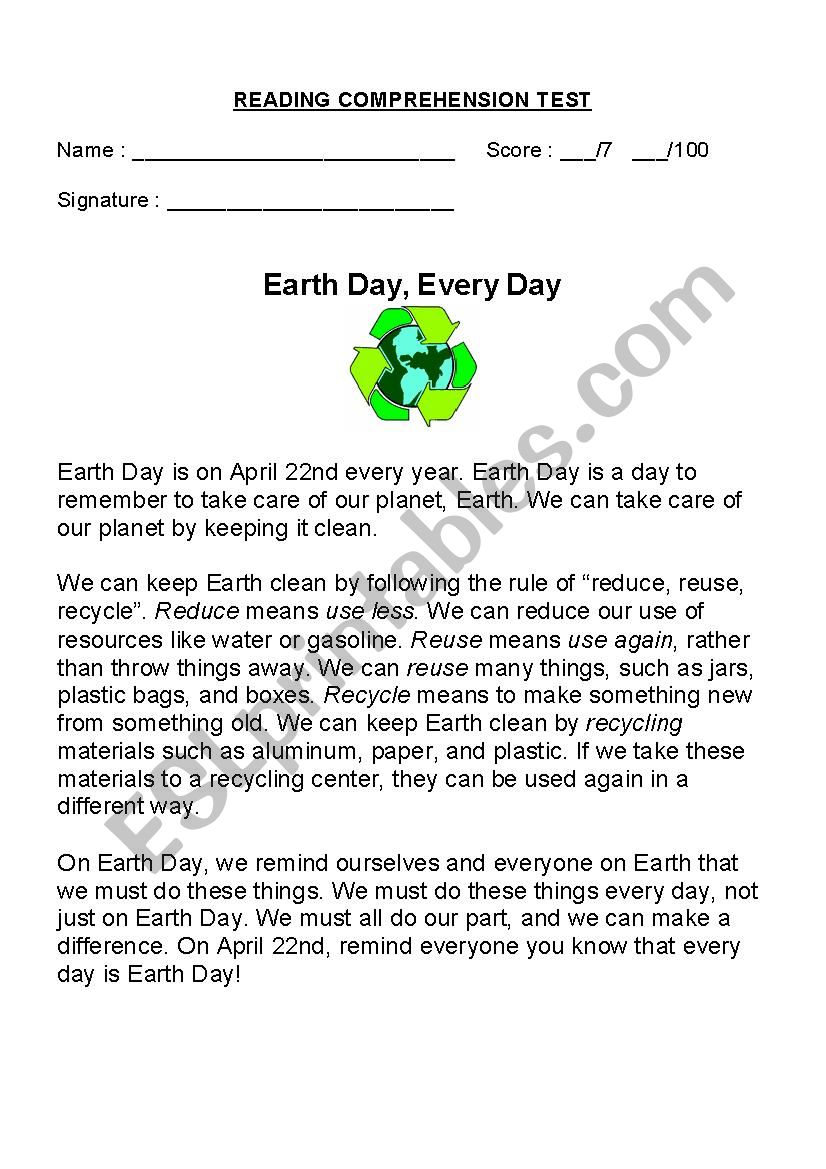 EARTH DAY, EVERY DAY worksheet