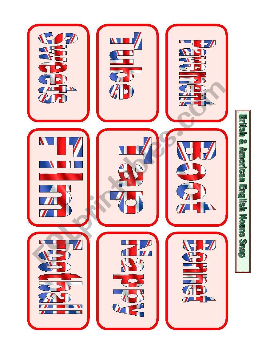 American and British English Noun Snap