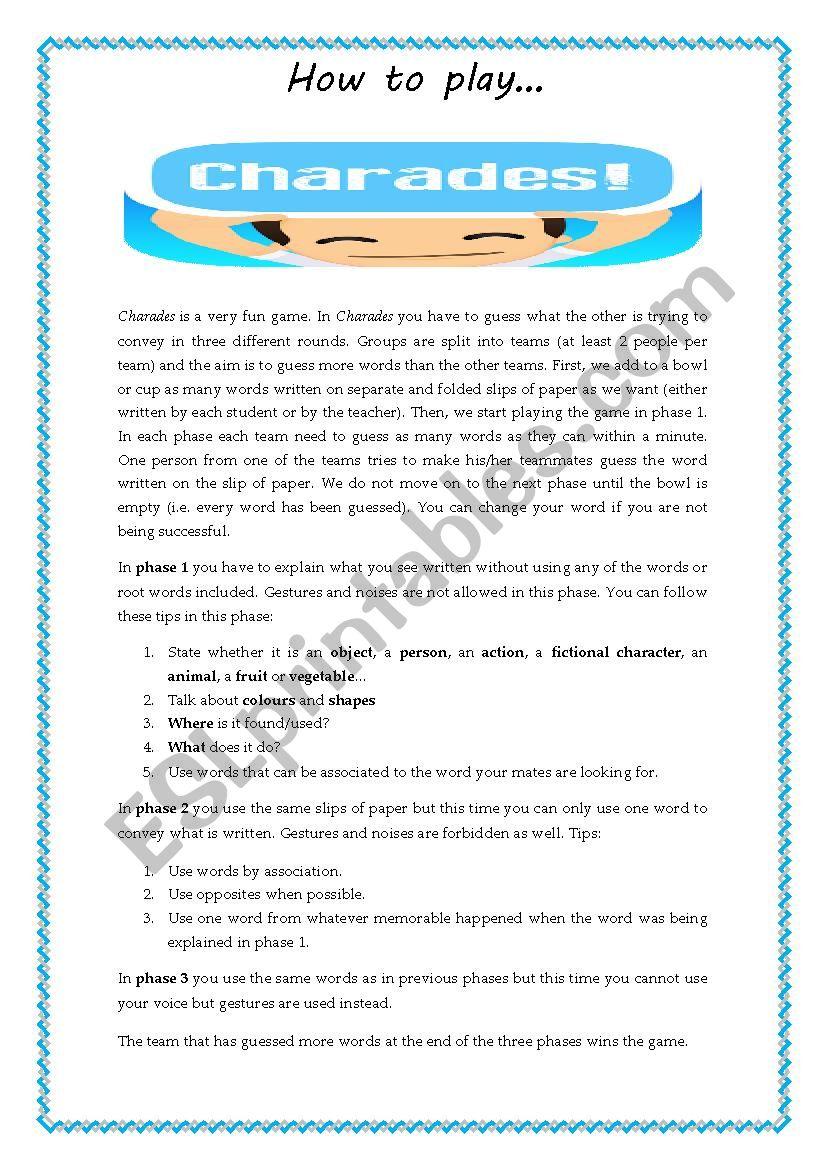 Charades worksheet