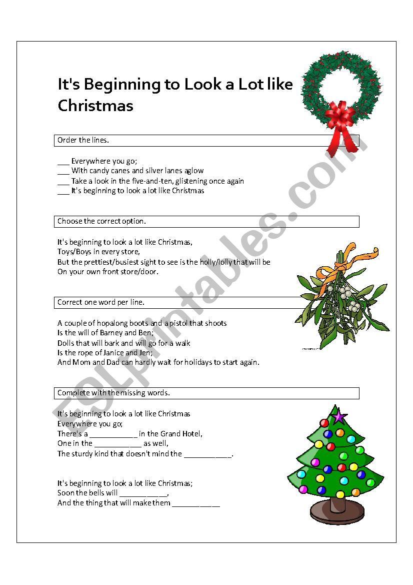 It´s Beginning to Look a Lot like Christmas - ESL worksheet by elghör