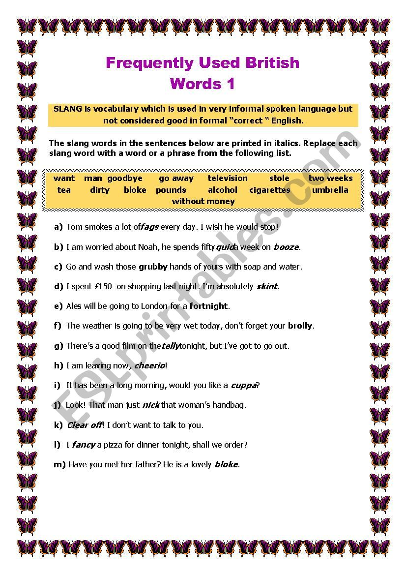 Frequently Used British Words worksheet