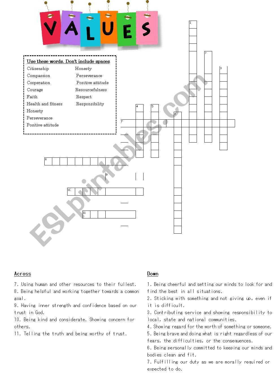 Personal values crossword worksheet