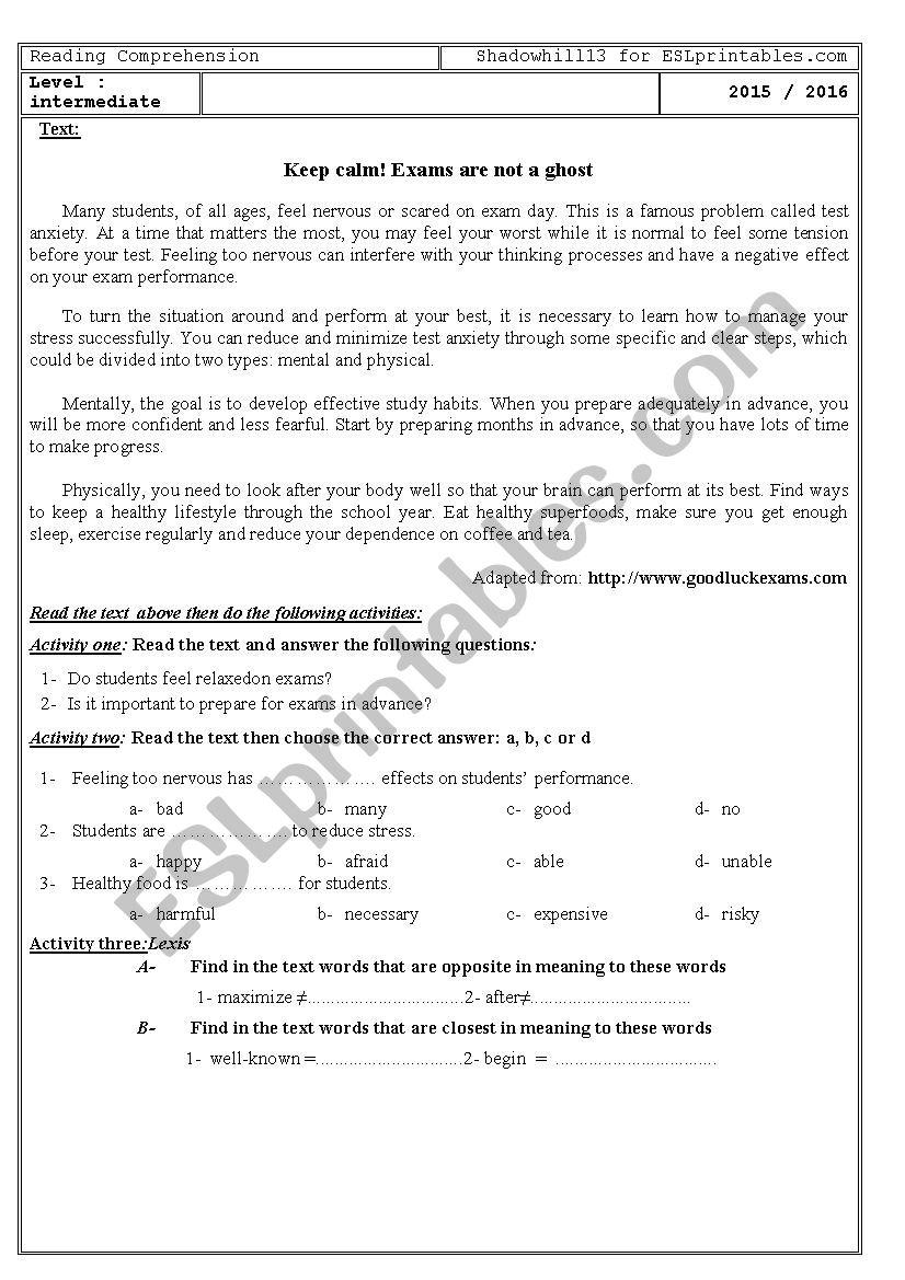 Exam Stress - ESL worksheet by shadowhill13
