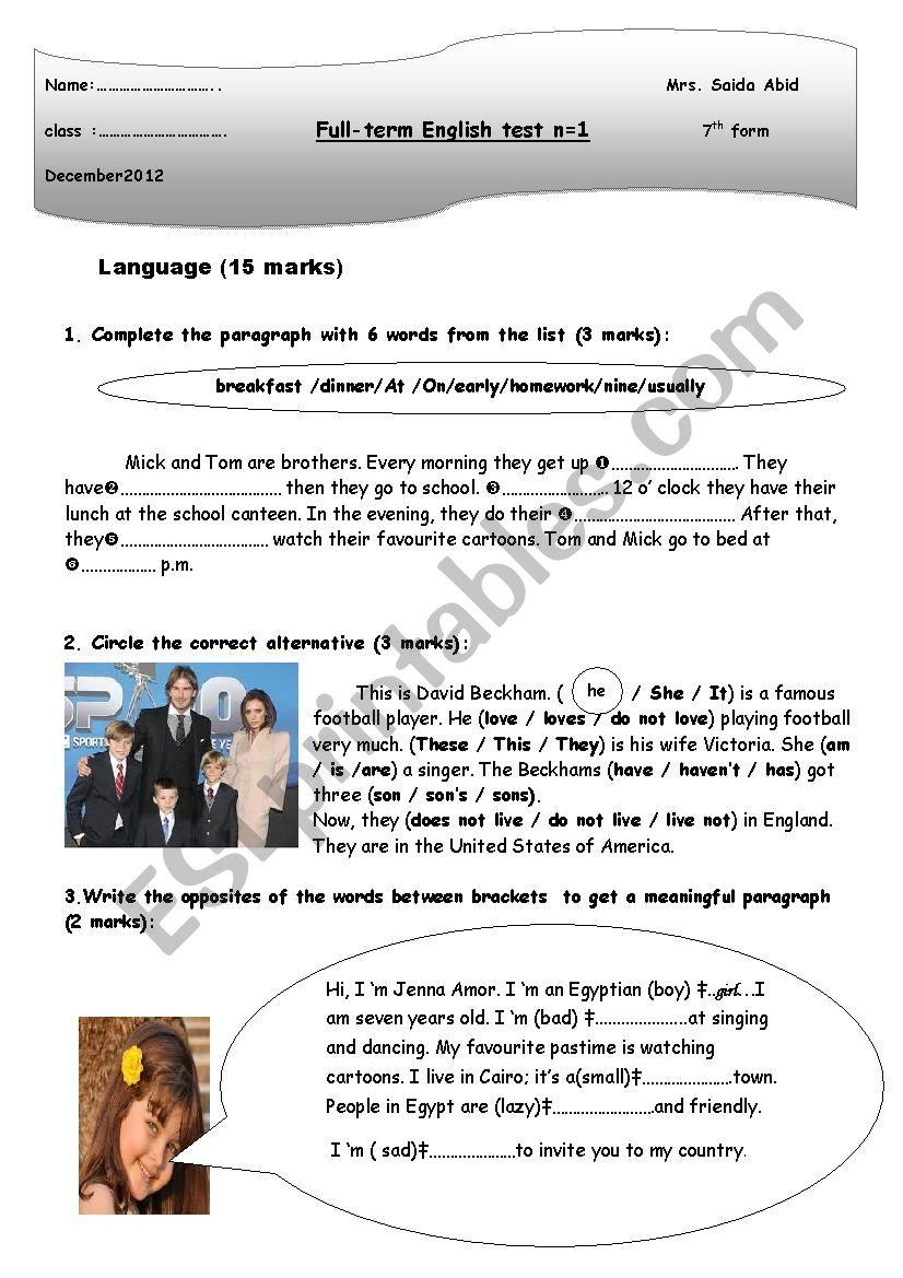 full term test n1 worksheet
