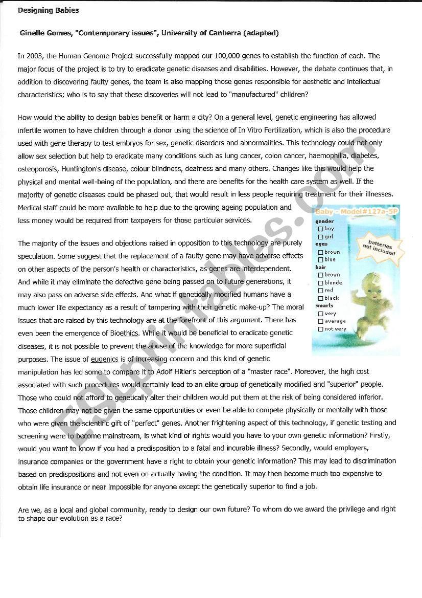 Designer Babies Genetic Engineering Esl Worksheet By