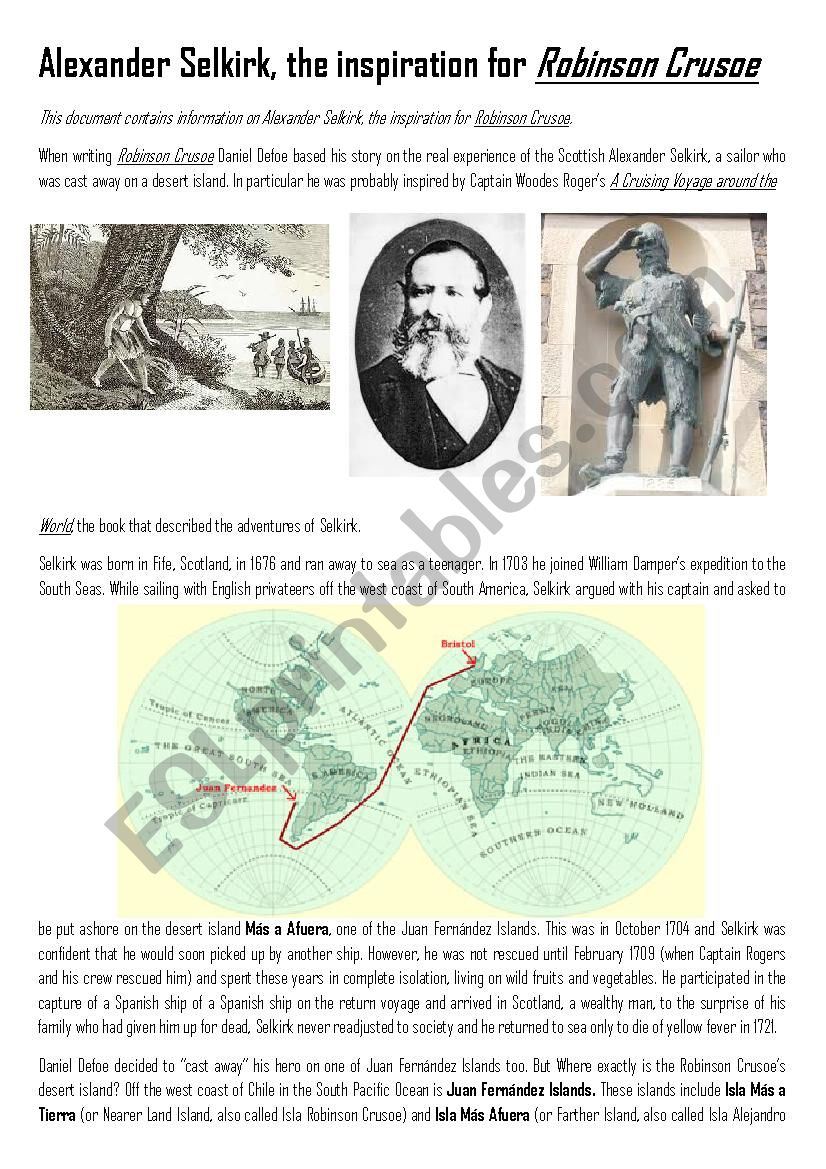 Alexander Selkirk, the real story that inspired