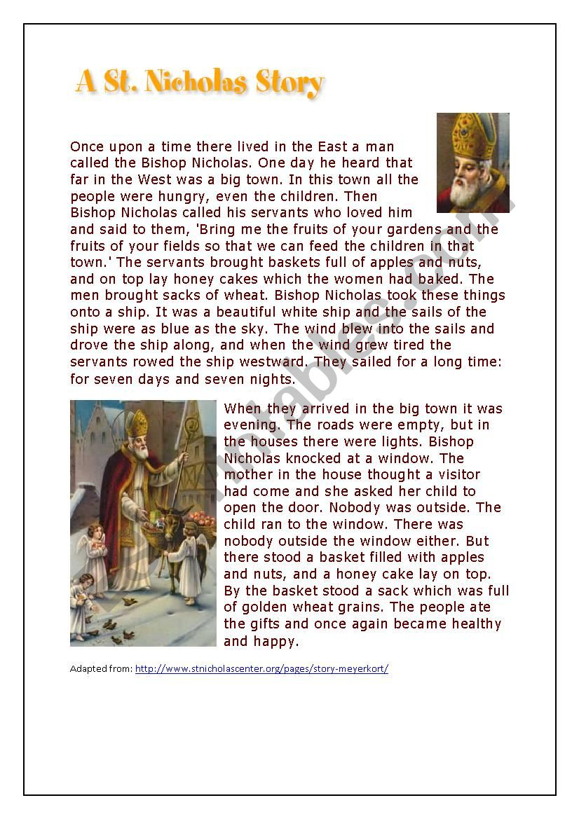 Saint Nicholas - comprehension and past simple