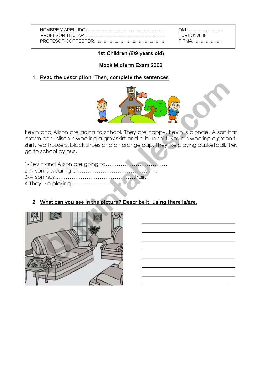 English Midterm Practice Test - ESL worksheet by trelly